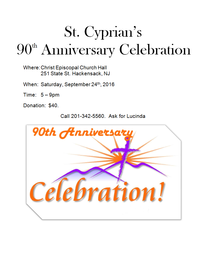 St. Cyprians 90th Anniversary Celebration September 24th 2016