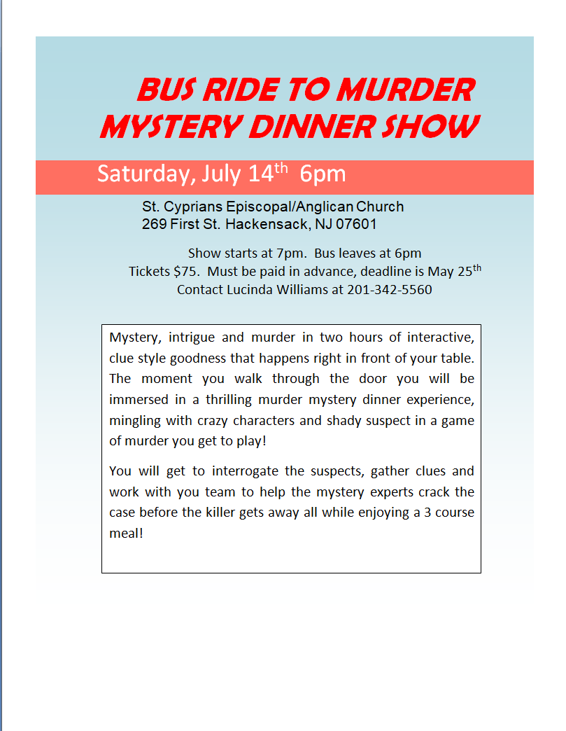 Murder Mystery Dinner July 14th 2018
