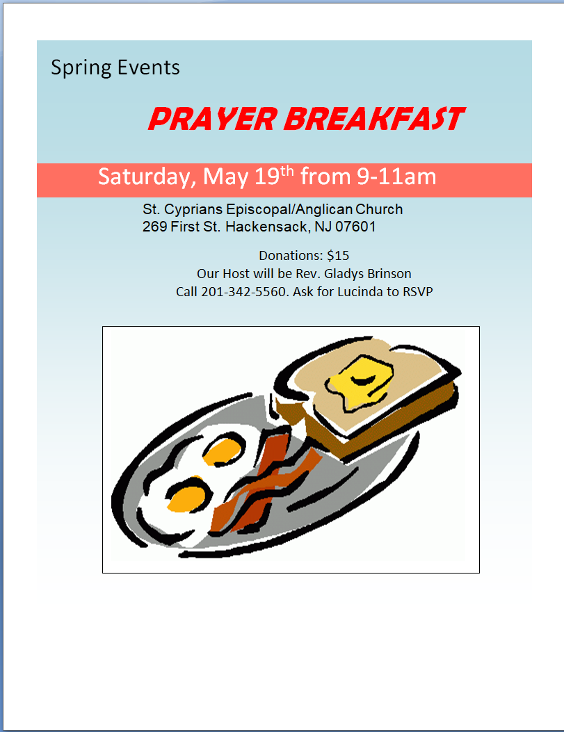 Prayer Breakfast May 19th 2018